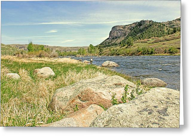 Field Rocks Greeting Cards - Fly Fishing Stillwater River Montana Greeting Card by Jennie Marie Schell