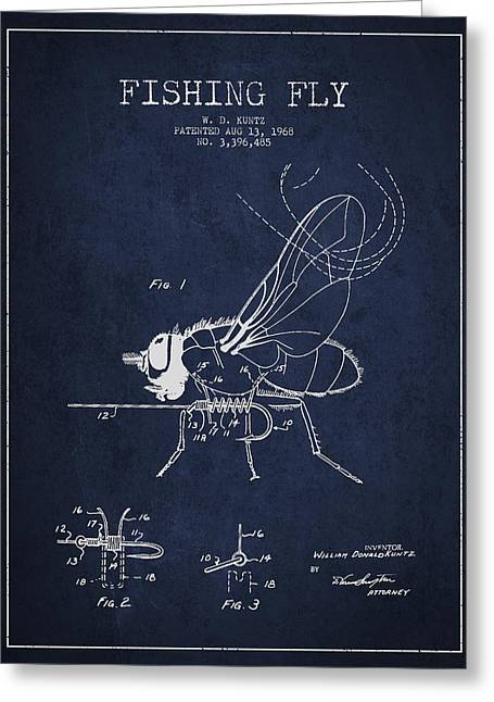 Fishing Fly Patent Drawing From 1968 Greeting Card by Aged Pixel