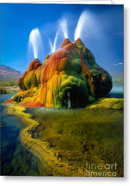 Geyser Greeting Cards - Fly Geyser Travertine Greeting Card by Inge Johnsson