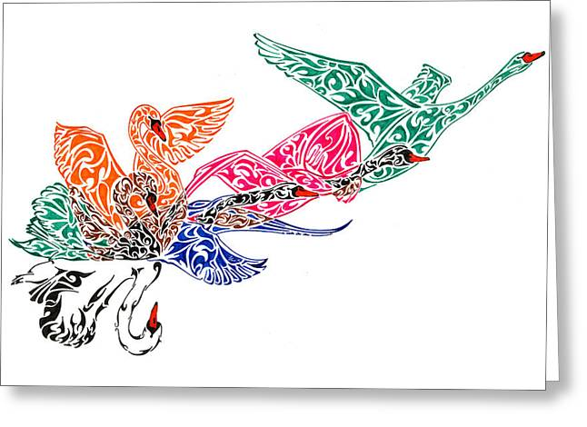 Ink Drawing Greeting Cards - Fly High Greeting Card by Anushree Santhosh
