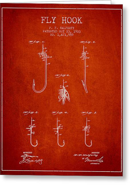 Fish Digital Art Greeting Cards - Fly Hook Patent from 1923 - Red Greeting Card by Aged Pixel