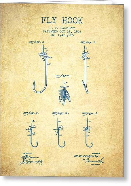 Fishing Rods Greeting Cards - Fly Hook Patent from 1923 - Vintage Paper Greeting Card by Aged Pixel