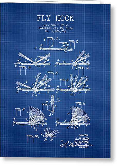Fish Bait Greeting Cards - Fly Hook Patent from 1924 - Blueprint Greeting Card by Aged Pixel