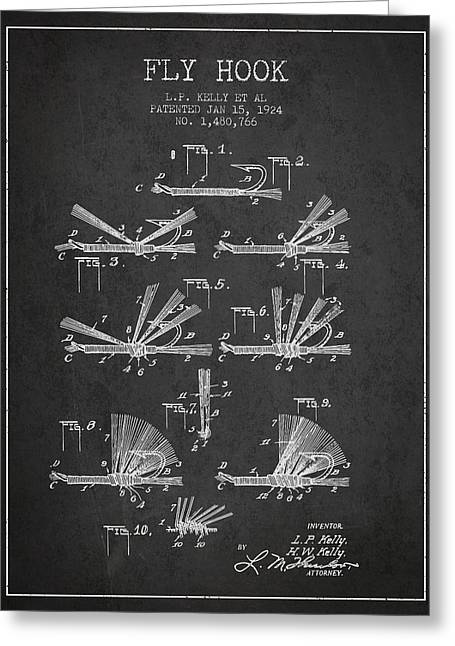 Tackle Greeting Cards - Fly Hook Patent from 1924 - Charcoal Greeting Card by Aged Pixel
