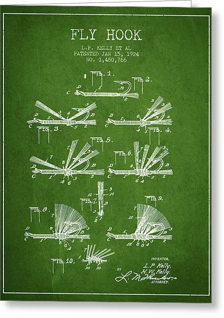 Tackle Greeting Cards - Fly Hook Patent from 1924 - Green Greeting Card by Aged Pixel