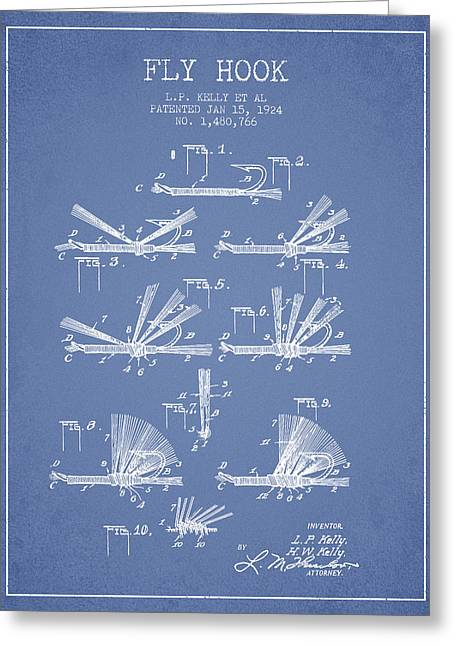 Tackle Greeting Cards - Fly Hook Patent from 1924 - Light Blue Greeting Card by Aged Pixel