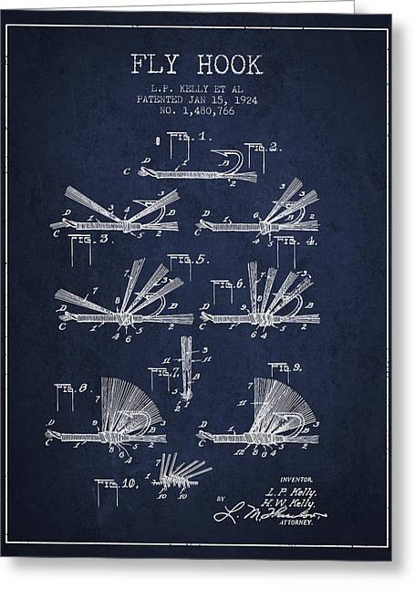 Tackle Greeting Cards - Fly Hook Patent from 1924 - Navy Blue Greeting Card by Aged Pixel