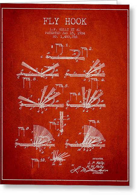 Tackle Greeting Cards - Fly Hook Patent from 1924 - Red Greeting Card by Aged Pixel