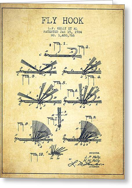 Tackle Greeting Cards - Fly Hook Patent from 1924 - Vintage Greeting Card by Aged Pixel