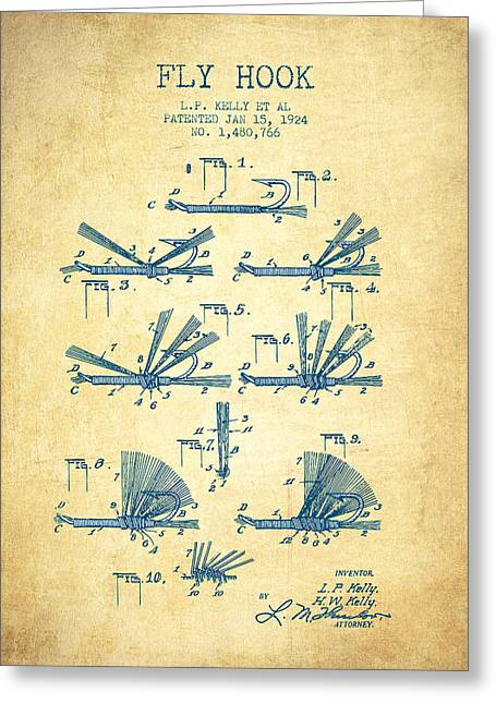 Fishing Rods Greeting Cards - Fly Hook Patent from 1924 - Vintage Paper Greeting Card by Aged Pixel