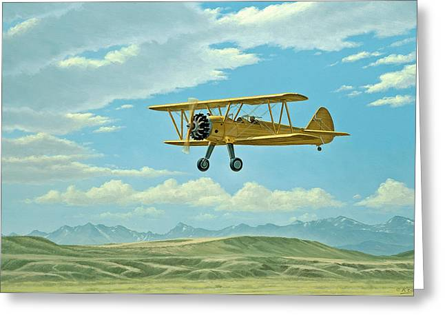 Stearman Greeting Cards - Fly-In At Three Forks - Stearman   Greeting Card by Paul Krapf