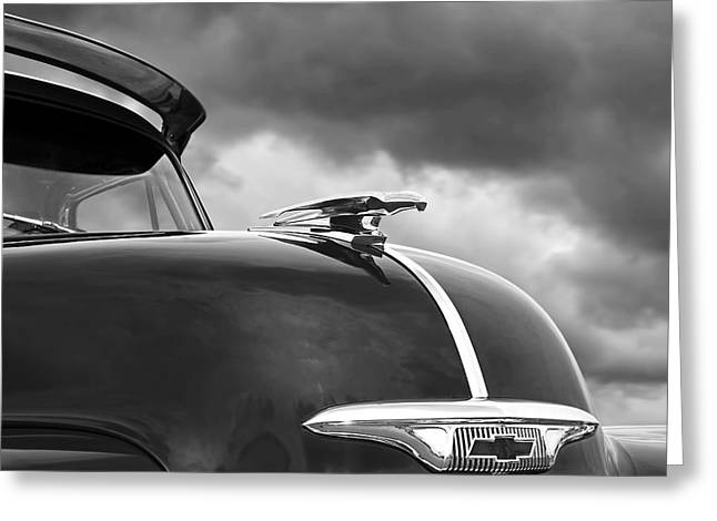 Chevrolet Pickup Truck Greeting Cards - Fly Like a Bird - Chevy Hood Ornament Black and White 53 -54  Greeting Card by Gill Billington
