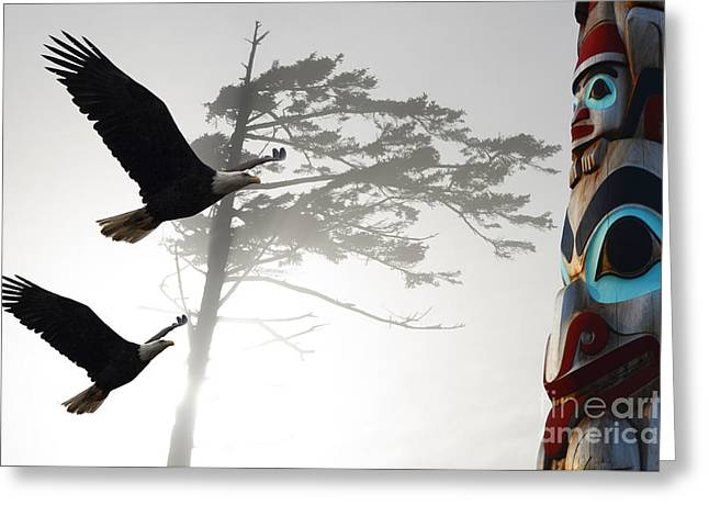 Best Sellers -  - Wooden Sculpture Greeting Cards - Fly Like An Eagle  Greeting Card by Bob Christopher