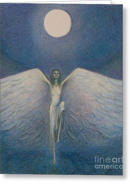 Night Angel Drawings Greeting Cards - Fly me to the Moon Greeting Card by Chiyuky Itoga