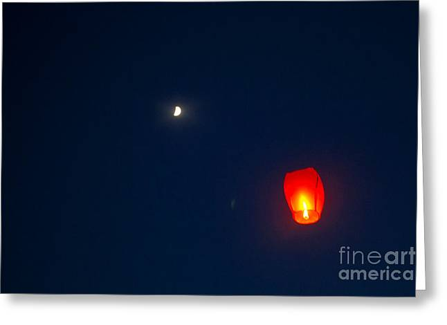 Pyrotechnics Greeting Cards - Fly Me To The Moon Greeting Card by Howard Tenke