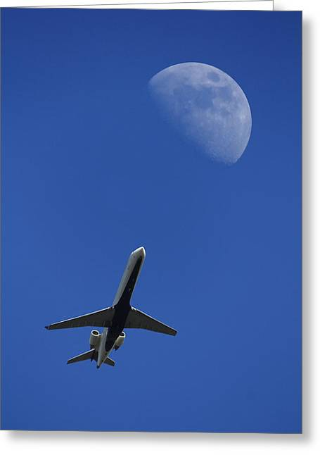 Passenger Planes Greeting Cards - Fly Me To The Moon Greeting Card by Mike McGlothlen