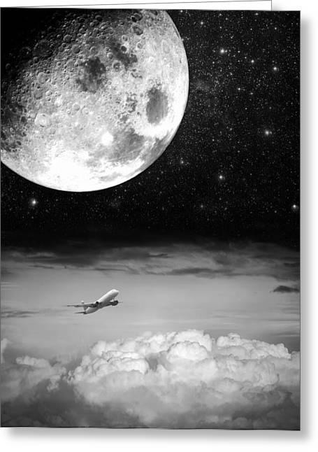 Jet Star Greeting Cards - Fly Me To The Moon Greeting Card by Semmick Photo