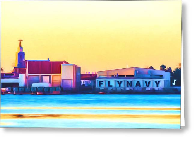 Fleeting Mixed Media Greeting Cards - Fly Navy Sign San Diego Greeting Card by Priya Ghose