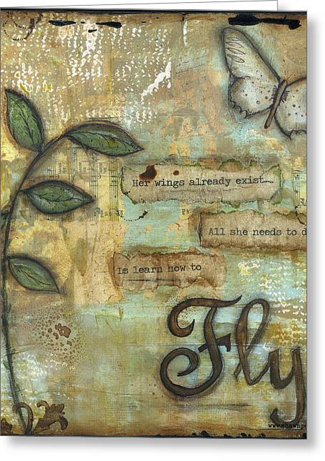 Brave Mixed Media Greeting Cards - Fly Greeting Card by Shawn Petite