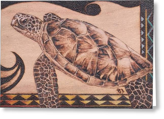 Turtle Pyrography Greeting Cards - Fly with Me  Greeting Card by Bea Israel