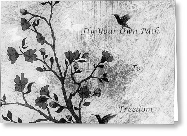 Your Home Mixed Media Greeting Cards - Fly Your Way To Freedom Black and White Greeting Card by Georgiana Romanovna