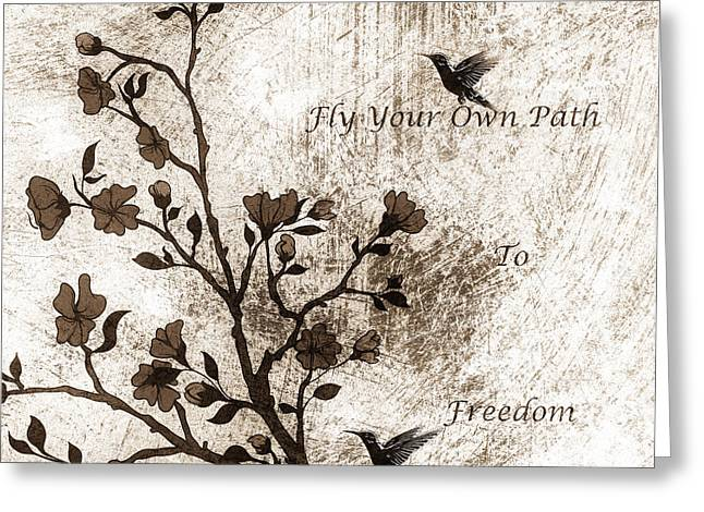 Zeana Romanovna Greeting Cards - Fly Your Way To Freedom Sepia Greeting Card by Georgiana Romanovna