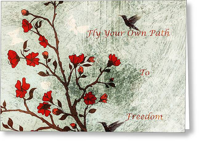 Fly Your Way To Freedom Greeting Card by Georgiana Romanovna