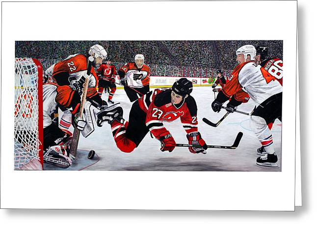 Hockey Paintings Greeting Cards - Flyers/Devils Greeting Card by Mark Richardson
