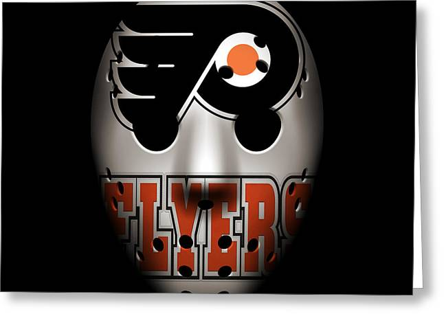 Flyer Greeting Cards - Flyers Goalie Mask Greeting Card by Joe Hamilton