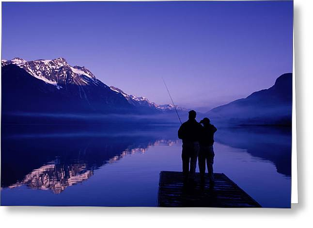 Backlit Greeting Cards - Flyfishing At Chilkoot Lake Near Haines Greeting Card by Michael DeYoung