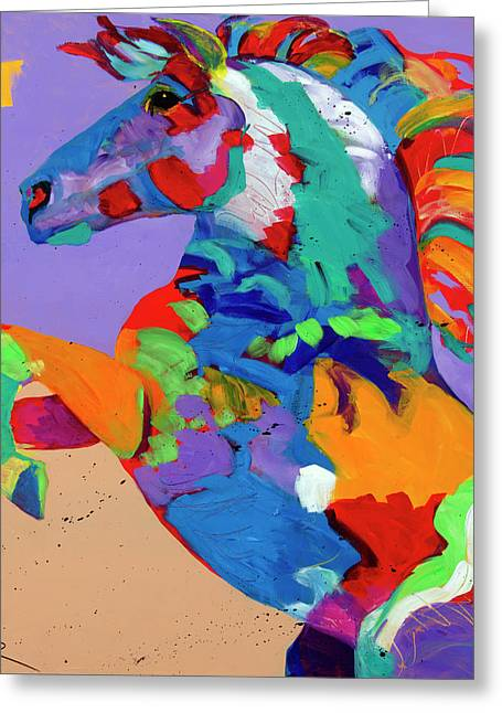 Wild Horses Greeting Cards - Flyin Hooves Greeting Card by Tracy Miller
