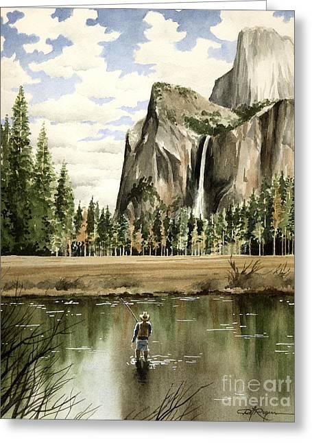 Fly Fishing Art Print Greeting Cards - Flyin Yosemite Greeting Card by David Rogers