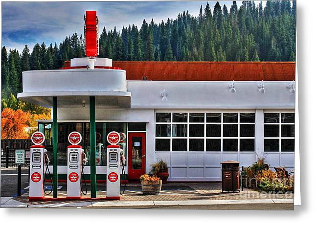 Service Station Greeting Cards - Flying A Gas Greeting Card by James Eddy