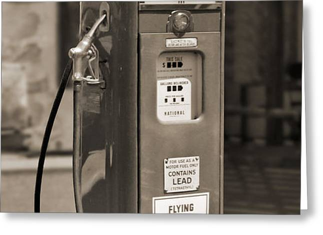 Flying A Gasoline - National Gas Pump 2 Greeting Card by Mike McGlothlen