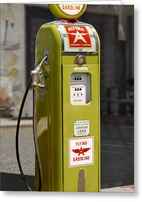 Gasoline Greeting Cards - Flying A Gasoline - National Gas Pump Greeting Card by Mike McGlothlen