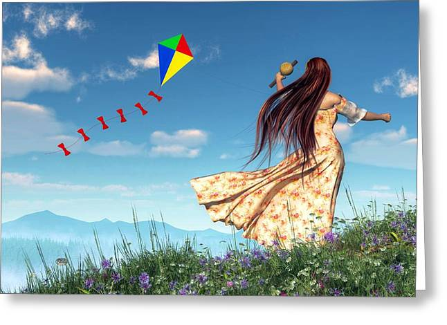 Breezy Greeting Cards - Flying a Kite Greeting Card by Daniel Eskridge