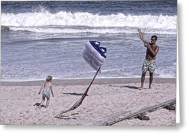 Independance Greeting Cards - Flying a Kite on the Beach I Rehoboth Beach Delaware Greeting Card by Jim Vansant