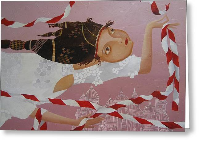 Girl And Animals Framed Prints Greeting Cards - Flying above Greeting Card by Yelena Dyumin