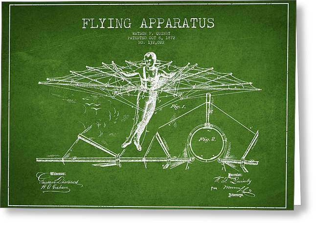 Right Wing Greeting Cards - Flying Apparatus Patent Drawing from 1872- Green Greeting Card by Aged Pixel