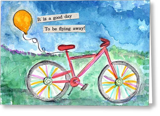 Blue Bike Greeting Cards - Flying Away- bicycle and balloon painting Greeting Card by Linda Woods