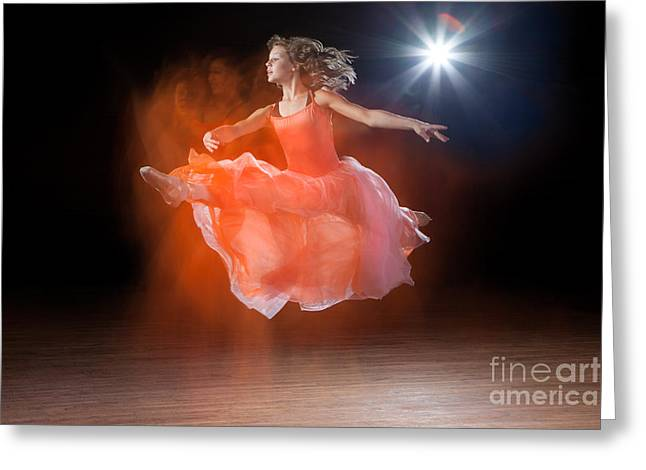 Ballet Dancers Photographs Greeting Cards - Flying Ballerina Greeting Card by Cindy Singleton