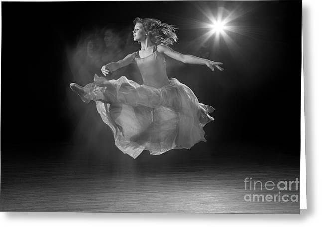 Ballet Dancers Photographs Greeting Cards - Flying Ballerina in Black and White Greeting Card by Cindy Singleton