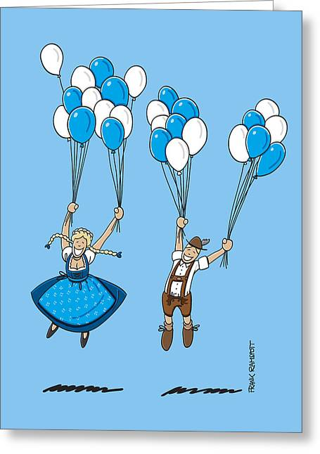 Munich Greeting Cards - Flying Balloons Oktoberfest Couple Greeting Card by Frank Ramspott