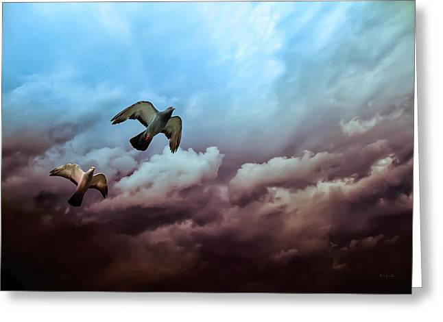 Storm Lovers Art Greeting Cards - Flying before the storm Greeting Card by Bob Orsillo