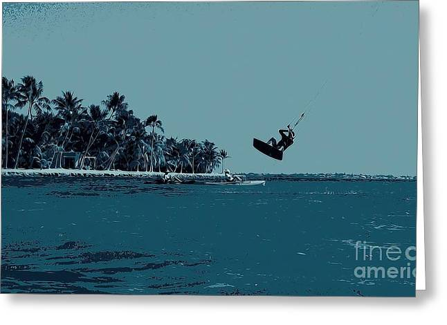 Kite Surfing Greeting Cards - Flying By Greeting Card by Pamela Blizzard