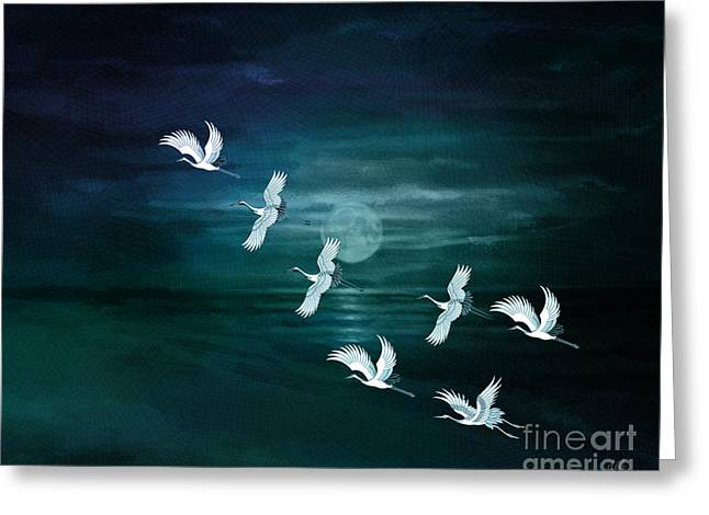 Reflecting Water Mixed Media Greeting Cards - Flying By The Moon Bay Greeting Card by Bedros Awak