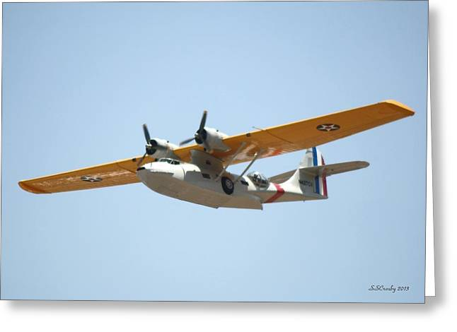 Pby Catalina Greeting Cards - Flying Catalina Greeting Card by Susan Stevens Crosby