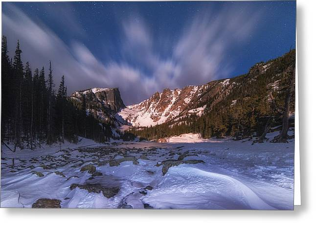 Colorado Mountain Greeting Cards Greeting Cards - Flying Clouds over Dream Lake Greeting Card by Darren  White