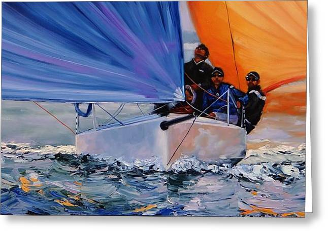 Blue Sailboats Greeting Cards - Flying Colors Two Greeting Card by Laura Lee Zanghetti