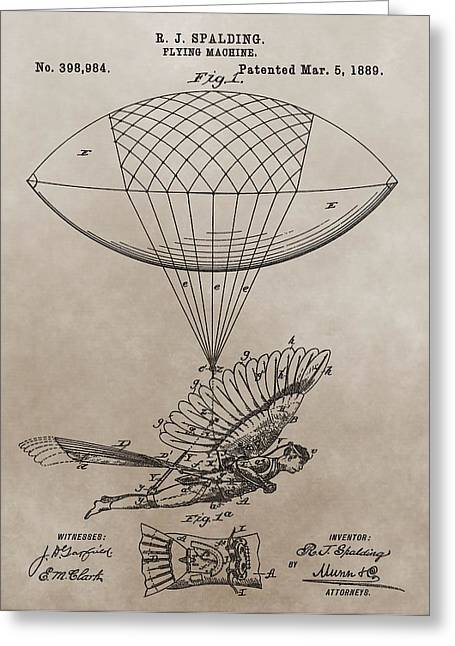 Helium Greeting Cards - Flying Contraption Patent Greeting Card by Dan Sproul